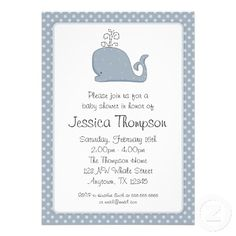 Blue Whale Polka Dots Boy Baby Shower Personalized Invites