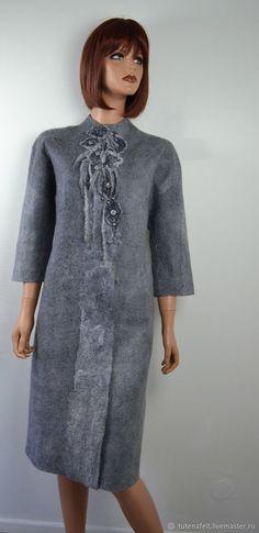 """Купить Пальто ,кап, кардиган , авторское валяное серое """" Coup de coeur """" в интернет магазине на Ярмарке Мастеров"""