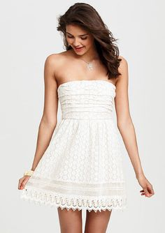 dELiAs > Crochet Ruched Strapless Dress