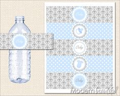 Baby Shower Printable Water Bottle Labels Grey and Blue Damask Chic. $8.00, via Etsy.