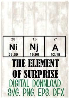 This collection showcases a clever use of symbols of the chemical ninja the element of surprise periodic table svg png eps dxf digital files only cricutscience chemistry urtaz Images