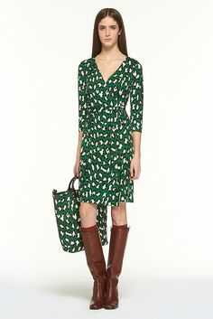 I have always coveted the DVF wrap dress. I love this one with the green print! DVF $325