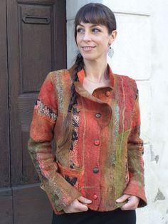 Veste en laine feutrée nuno pièce unique. T38/40 : Manteau, Blouson, veste par arlatine