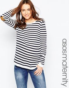Image 1 ofASOS Maternity Stripe Boxy Jumper with Suede Star Elbow Patch