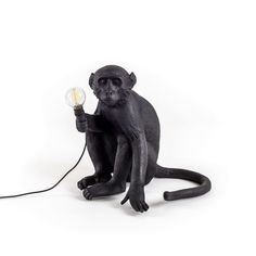Seletti Sitting Monkey Lamp Black Outdoor | Out Of The Dark