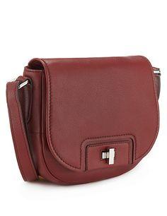 Wine Leather Saddle Across Body Bag Clothing