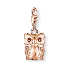 Thomas Sabo Charm Club Rose G/Plated Sterling Silver Owl With Black Enamel Eyes Charm