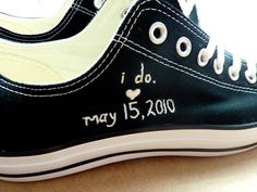 Embroidered Converse wedding date