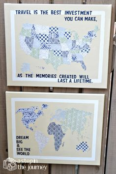 Oh the Places We've Been (We'll Go) - US/World Travel Map Combo. $70.00, via Etsy.