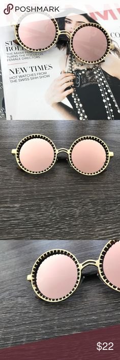 PINK MIRROR LENS ROUND SUNGLASSES * Gold Trim/with brown print details  * Pink mirror lens * Round lens Approximate measurements: * Full width 6in * Side bar 6in * Individual lens 2.25in width, 2.25in height * All pictures are showing actual product. Pictures taken exclusively for Style Link Miami. Model is wearing this style in silver.  * Price firm. Please use BUY NOW button to purchase. Style Link Miami Accessories Sunglasses