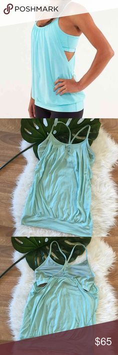 """RARE Lululemon Let it Loose Tank Toothpaste Mint This color is RARE for this Lululemon style """"Let it Loose"""" hard to find especially in a bigger size. This is a size 8 & no longer fits me. Normal wear no major flaws. Built in bra has room for inserts but not cups are included. This is the toothpaste color from 2010, beautiful washed mint green color very flattering! lululemon athletica Tops Tank Tops"""