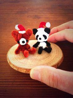 Pipe cleaner Santa bear and panda.