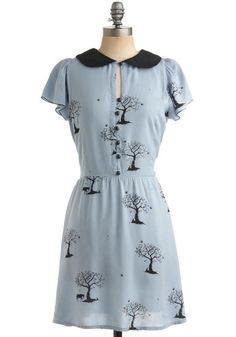 Distant Memory Dress by Sugarhill Boutique - Blue, Black, Print, Buttons, Peter Pan Collar, Casual, A-line, Short Sleeves, Spring, Mid-lengt...