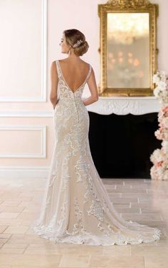 6643 Lace Wedding Dress with Sheer Cutouts by Stella York