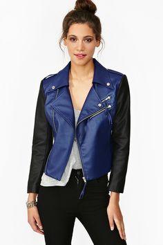 Dark Edges Moto Jacket (Nasty Gal, $88.00) - colorblock, dualtone, vegan leather, zip pockets, tassel detailing, downtown chic.