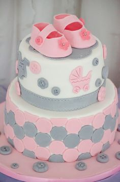 Baby Shower - Pink and Grey baby shower cake made for a friends baby shower Baby Shower Cake Designs, Baby Shower Cakes, Baby Shower Parties, Cakes For Baby Showers, Owl Cakes, Cupcake Cakes, Gender Revel Cake, Pink Christening Cake, Grey Baby Shower