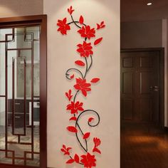 Simple Wall Paintings, Wall Painting Decor, Wall Art Designs, Wall Design, Flower Wall Decals, Wall Drawing, Stained Glass Designs, 3d Wall, Modern Wall Art