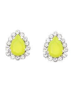 Neon Yellow Teardrop Earrings