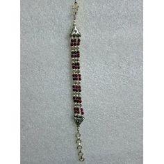 Tribal Fashion Silver Oxidized Bracelet Studded with Cherry Red Stone Indian Jewelry Jewelry (Jewelry)