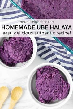 Check out this recipe for easy and authentic homemade ube halaya. Delicious ube halaya that compares to your favourite ube jam from back home and definitely way better than the ube jams you can find in the stores here. Make for Christmas, Noche Buena, New Year's Eve, Thanksgiving or tomorrow and make every day special. Follow along with step-by-step photos plus get tips for making perfect ube jam every time. #UbeHalaya #UbeRecipe #EasyRecipe Strawberry Swirl Cheesecake, Strawberry Sauce, Cheesecake Strawberries, Great Desserts, Delicious Desserts, Dessert Recipes, Dessert Ideas, Ube Recipes, Cheesecake Recipes