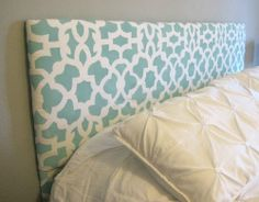 DIY Stenciled Fabric Upholstered Headboard - Cutting Edge Stencils - Zamira Allover