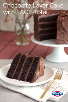Fall in love with this indulgent Chocolate Layer Cake made with FAGE Total.
