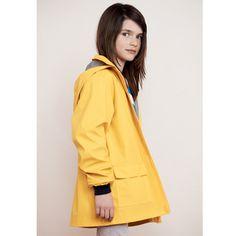 Yellow ciré rain jacket