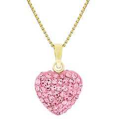 Take a look at this Pink & Gold Heart Pendant Necklace with Swarovski® Crystals today!
