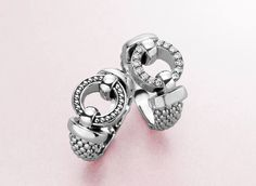 Enso rings in Caviar and Diamonds.