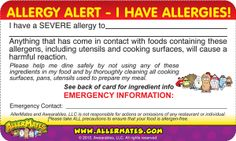FREE Printable Allergy Cards for Restaurants