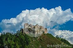 Photo about The ruins of the Czorsztyn castle on the hill. Image of green, vacation, attraction - 69709914 Castle On The Hill, Mount Rushmore, Attraction, Europe, Stock Photos, Vacation, Mountains, Green, Nature