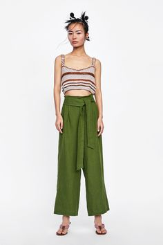 13117b3aff ZARA - WOMAN - LINEN TROUSERS WITH BOW