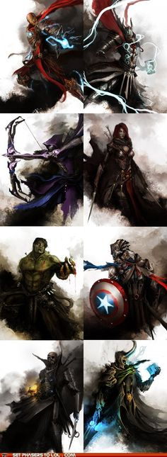 The Avengers are Dark Fantasy Characters an awesome way to transform modern characters