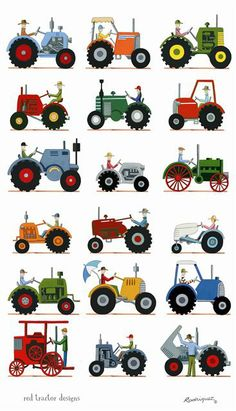 This is amazing! Need to turn this into a wall hanging in Cs room.....The Tractor Show - tea towel