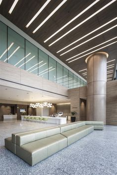 Lobby / Entrance / Ceiling design at The Farrer Park Hospital Singapore by DP Design