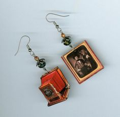Camera Earrings Vintage Bellows cameras Daguerreotype asymmetrical earring on Etsy, $18.00