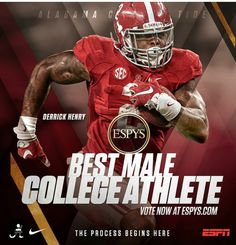 "Derrick Henry has been nominated for an ESPY Award, under the category ""Best Male College Athlete"". Vote at ESPYS.com. #ESPN #ESPY #Alabama #RollTide #BuiltByBama #Bama #BamaNation #CrimsonTide #RTR #Tide #RammerJammer"