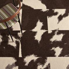 mod cow brown and cream carpet tiles