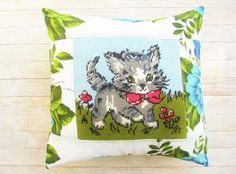 Pillow cover patchwork cat retro flower cushion blue by poppyshome