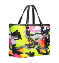 032d7c16c6b4 Christian Dior Anselm Reyle Yellow mini shopping bag in  Camouflage  print  canvas Christian Dior
