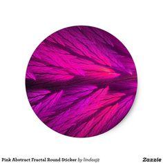 Pink Abstract Fractal Round Sticker