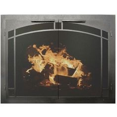 "Ironhaus Elegant Series Fireplace Glass Door Finish: Brushed Gray, Size: 34"" H x 51"" W x 3"" D"