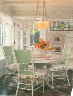 Amish pressed back chairs painted sage and white