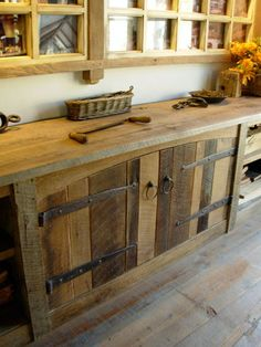 Barn Wood Cabinets - 11 Ways to Use Salvaged Wood in Your Home - Bob Vila I love the reclaimed wood wall Reclaimed Wood Projects, Reclaimed Wood Furniture, Salvaged Wood, Pallet Furniture, Rustic Furniture, Reclaimed Lumber, Repurposed Wood, Modern Furniture, Reclaimed Wood Kitchen