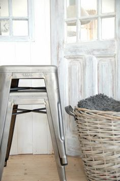 greige: interior design ideas and inspiration for the transitional home : Tolix grey and white. Metal Stool, Transitional House, Coastal Decor, Home Remodeling, Home Furniture, Sweet Home, House Design, Interior Design, House Styles