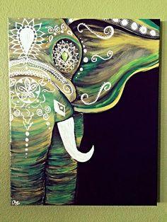 Emerald Green Bohemian Elephant by GypsyTwistArt on Etsy