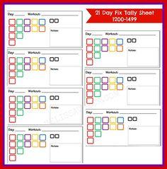 21-Day Fix Cheat Sheet
