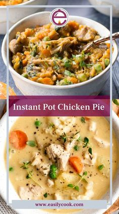 Instant pot chicken pot pie easy recipes. INGREDIENTS 4 boneless & skinless chicken thighs 1 large yellow onion chopped 2 large carrots peeled & diced 4 stalks celery chopped 1 medium sweet potato peeled & cubed 10 ounces cremini/baby bella mushrooms sliced 1 teaspoon dried thyme 3 cloves garlic minced... CLICK ON THE PICTURE TO GET FULL RECIPE WITH INSTRUCTIONS. Instant Pot Pressure Cooker, Pressure Cooker Recipes, Easy Chicken Pot Pie, Chicken Recipes, Spinach Puff Pastry, Boneless Skinless Chicken Thighs, Healthy Recipes, Easy Recipes, Cooking Recipes