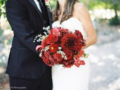 Fine Art Film Tuscan Vineyard Wedding | Deep Red Bouquet | Magnolia Rouge | Emily March Photography