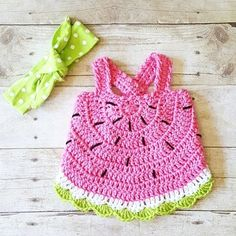 Crochet Baby Watermelon Summer Open Back Swing Top Tank Halter Top Polka Dot Tie Knot Cotton Headband Newborn Infant Toddler Handmade Clothing - Red Lollipop Boutique